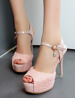 Women's Heels Summer PU Dress Stiletto Heel Rhinestone White Blushing Pink