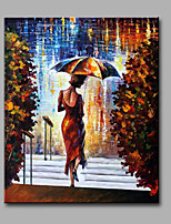 Hand-Painted Abstract The Woman In The Walk In The Rain  Modern Classic One Panel Canvas Oil Painting For Home Decoration