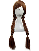 Popular Long Braided 70CM Synthetic  Brown Princess Anna Cosplay Wig