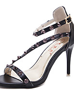 Damen-High Heels-Kleid-PU-StöckelabsatzSchwarz Rosa