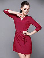 Women's Going out Casual/Daily Simple Shift Dress,Solid V Neck Above Knee Long Sleeve Silk Spring Summer Mid Rise Micro-elastic Medium