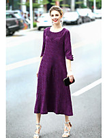 Women's Going out Vintage Chinoiserie Loose Dress,Floral Embroidered Round Neck Midi ¾ Sleeve Linen Spring Summer Mid Rise Micro-elastic