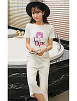 Sign Korean fashion short-sleeved T-shirt sweater blouses + Leisure seven wide leg pants piece fitted