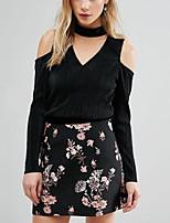 Tee-shirt Femme,Couleur Pleine Décontracté / Quotidien simple Printemps Eté Manches Longues Col en V Noir Polyester Moyen