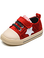 Baby Flats Spring Fall First Walkers PU Outdoor Casual Flat Heel Magic Tape Red Walking