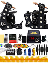 Complete Tattoo Kit 2 Pro Tattoo Machine Power Supply Needles Grips Tips TK256