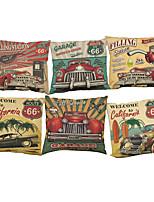 Set of 6  Retro car pattern Linen Pillowcase Sofa Home Decor Cushion Cover (18*18inch)