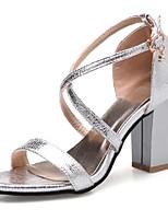 Золотой Черный Серебряный Розовый-Для женщин-Для праздника Повседневный-Полиуретан-На толстом каблуке Блочная пятка-Удобная обувь-Сандалии