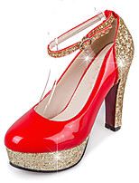 Heels Spring Summer Fall Winter Club Shoes PU Synthetic Wedding Party & Evening Dress Chunky Heel Sequin Black Red White