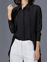 Women's Plus Size Casual/Daily Work Simple Street chic All Seasons Summer Shirt,Solid Shirt Collar Long Sleeve Polyester
