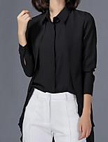 Для женщин На каждый день Офис Большие размеры Все сезоны Лето Рубашка Рубашечный воротник,Простое Уличный стиль Однотонный Длинный рукав,