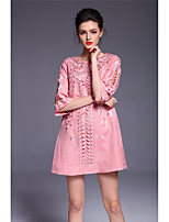 YANG X-M Going out Casual/Daily Party/Cocktail Sexy Cute A Line DressFloral Round Neck Above Knee  Length Sleeve Cotton Linen Pink GreenSpring