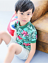 Boy's Cotton Fashion Willow Flowers Lapel with Short Sleeves White Shirt Worn Shorts Two-Piece Outfitwith any accessories