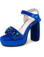 Extérieure Habillé Décontracté-Bleu Vert-Gros Talon-Confort Nouveauté club de Chaussures-Sandales-Laine synthétique Paillette Matières