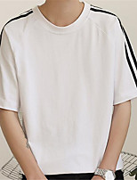 Men's Casual/Daily Simple Summer T-shirt,Solid Round Neck Short Sleeve Cotton Thin
