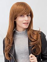 Fashion Long Natural Wave Auburn Capless Human Hair Wig For Girls And Women 2017