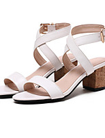 Women's Sandals Club Shoes Comfort Novelty Leatherette Dress Casual Chunky Heel Others Brown White