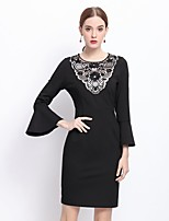 Women's Going out Sophisticated Sheath Dress,Patchwork Round Neck Above Knee ¾ Sleeve Black Cotton Winter Mid Rise Inelastic Medium