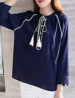 Women's Plus Size Casual/Daily Simple Spring Fall T-shirt,Solid Round Neck ¾ Sleeve Blue Cotton Linen