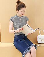 Women's Tassel Sign striped shirt + denim skirt may change their own keyword