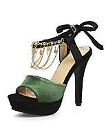 Women's Sandals Spring Summer Fall Comfort Ankle Strap Club Shoes Velvet Wedding Dress Party & Evening Stiletto HeelImitation Pearl Chain