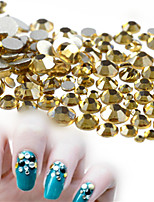 500-600pcs/bag SS3-SS16 Mixed Size Sweet Golden Nail Rhinestone New Nail Art Glitter Sparkling Jewelry Decoration Shiny Rhinestone Nail Bling Bling