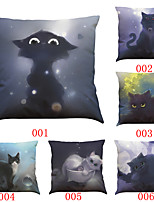 Set of 6 3D cartoon cat pattern   Linen Pillowcase Sofa Home Decor Cushion Cover (18*18inch)