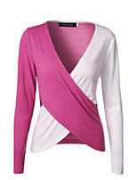 Women's Casual/Daily Street chic Spring Fall T-shirt,Patchwork V Neck Long Sleeve Blue Pink Red Cotton Medium