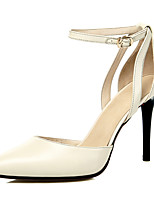 Women's Heels Spring Summer Fall Winter Cowhide Office & Career Dress Party & Evening Stiletto Heel Buckle Black Beige