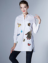 JOJO HANS Women's Going out Work Simple Spring Summer ShirtAnimal Print Stand Long Sleeve Blue White Polyester