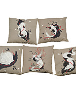 Set of 5 Chinese style white fox pattern  Linen Pillowcase Sofa Home Decor Cushion Cover (18*18inch)