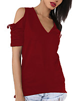 Women's Going out Casual/Daily Sexy Simple Summer Fashion All Match Ruched Off-The-Shoulder T-shirtSolid V Neck Short Sleeve Medium