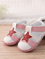 Baby Flats Spring Fall First Walkers PU Outdoor Casual Flat Heel Magic Tape Pink Walking