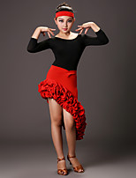 Latin Dance Outfits Girls Performance Milk Fiber Side-Draped 2 Pieces Long Sleeve Dropped Top Skirt