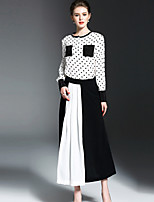 OYCP Women's Casual/Daily Simple Spring Summer Shirt Skirt SuitsPolka Dot Round Neck Long Sleeve Polyester