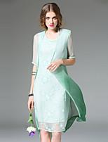 Для женщин На каждый день Простое Оболочка Платье Однотонный,Круглый вырез Выше колена Рукав ½ Синий Зеленый Фиолетовый ПолиэстерВесна