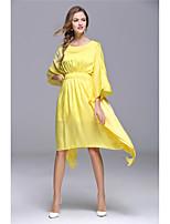 Для женщин На выход На каждый день Пляж Очаровательный Уличный стиль С летящей юбкой Платье Однотонный,Круглый вырез Ассиметричное Рукав ½