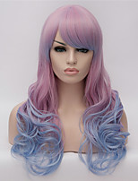 perruques cosplay dégradé violet perruques couleur perruque en Europe et Amérique mode des points partiels long cheveux bouclés 24 pouces