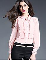 Women's Work Simple Shirt,Solid V Neck Long Sleeve Silk