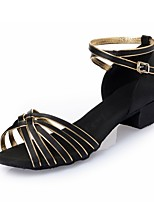 Chaussures de danse(Or noir) -Non Personnalisables-Talon Bottier-Satin Similicuir-Latines