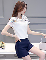 Sign 2017 new short-sleeved suit female Korean Women stitching lace shirt chiffon shirt printing piece shorts