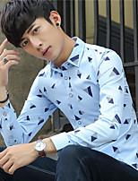 herfst dunne gedeelte van de jonge Britse mannen revers shirt met lange mouwen slanke Koreaanse versie van casual printing overhemd