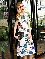 JOJO HANS Women's Going out Cute A Line DressPrint V Neck Midi Short Sleeve White Polyester Spring Summer Mid Rise Micro-elastic Medium