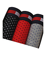 3Pcs/Lot Men's Fashion Sexy Dots Printed Boxers Underwear Cotton Soft Panties