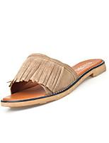 Slippers & Flip-Flops-Lässig Kleid-PU-Flacher Absatz-Komfort-Grün Grau Mandelfarben