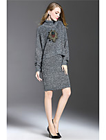 Women winter 2016 new retro high collar sweater knitting bag hip Slim stylish skirt suit