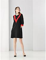 Courte Robe Femme Sortie Soirée / Cocktail simple Mignon,Couleur Pleine Col Arrondi Au dessus du genou ½ Manches Rouge Noir Polyester