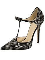 Tacón Stiletto-Gladiador Zapatos del club-Tacones-Oficina y Trabajo Vestido Informal Fiesta y Noche-Vellón Purpurina-Negro