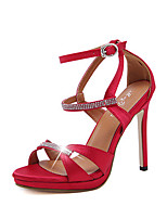 High Heels-Büro Kleid Party & Festivität-Kunstleder-Stöckelabsatz-Komfort-Schwarz Rot