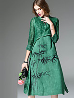 Women's Going out Holiday Chinoiserie Swing Dress,Print Stand Midi Knee-length ¾ Sleeve Cotton Linen Spring Summer Mid Rise Micro-elastic